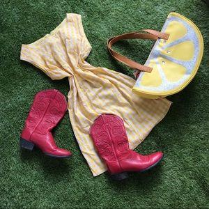 vintage 60s yellow plaid gingham zip back dress